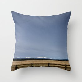 Ranch and the Three Sisters in Deschutes County, Oregon Throw Pillow