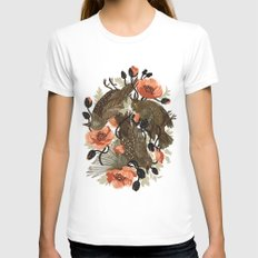 Spangled & Plumed Womens Fitted Tee MEDIUM White