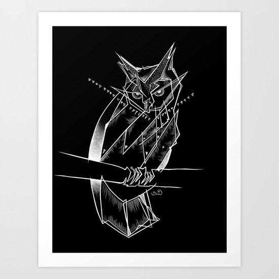 eagle owl-BLACK Art Print