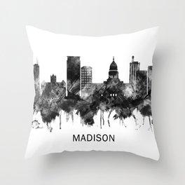Madison Wisconsin Skyline BW Throw Pillow