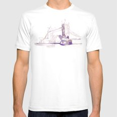 Watercolor landscape illustration_London Bridge White MEDIUM Mens Fitted Tee