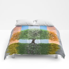 Digital painting of the seasons of the year in a tree Comforters