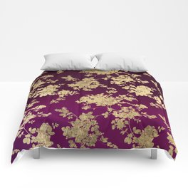 Chic faux gold burgundy ombre watercolor floral Comforters