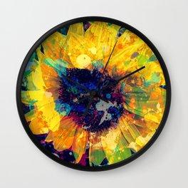 Sunflower Batik Wall Clock