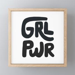 Grl Pwr black and white Framed Mini Art Print