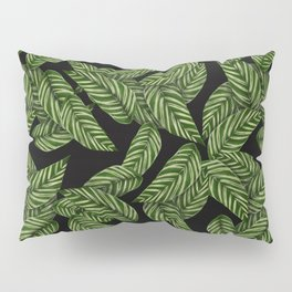 Green & Black Tropical Leaves Pattern Pillow Sham
