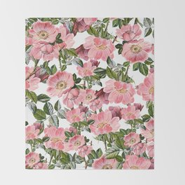 Vintage forest green pink coral bohemian floral Throw Blanket
