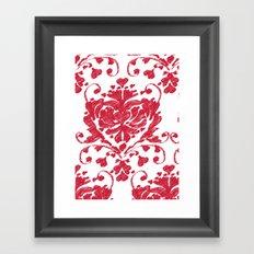 giving hearts giving hope: red damask Framed Art Print