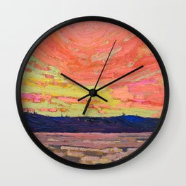 Tom Thomson - Sunset - Canada, Canadian Oil Painting - Group of Seven Wall Clock