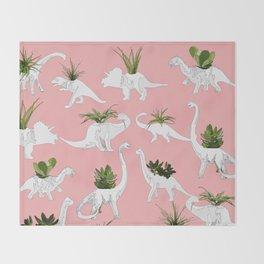 Dinosaurs & Succulents Throw Blanket