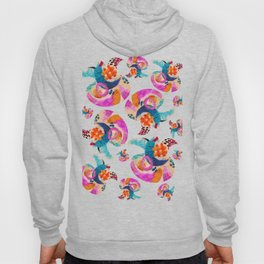 pattern with embroidered lilies Hoody