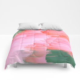 Romance Glitch - Pink & Living coral Comforters