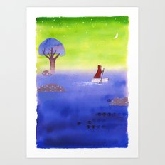 Crossing The Lake Art Print