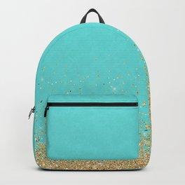 Sparkling gold glitter confetti on aqua teal damask background Backpack