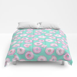 Pink Donuts | Strawberry Watercolor Doughnut Pattern on Teal Comforters