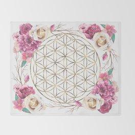 Flower of Life Rose Garden Gold Throw Blanket