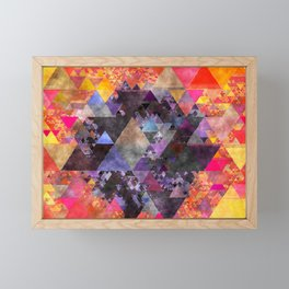 Fire red blue yellow  triangle pattern - Watercolor illustration Framed Mini Art Print