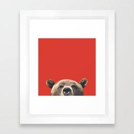 Bear - Red Framed Art Print