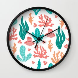 Coral and seaweed seamless pattern on white background. Wall Clock