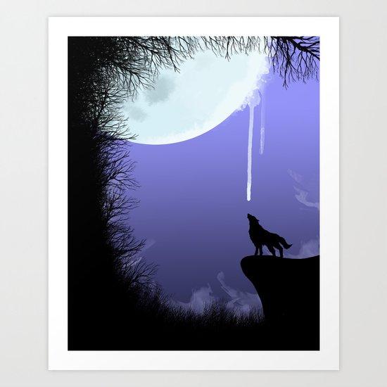 wolf drinking moon Art Print