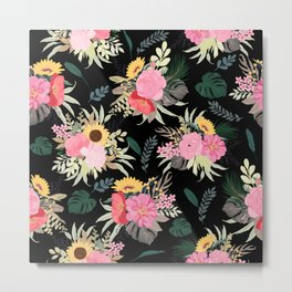 Watercolor Poppy & Sunflowers Floral Black Design Metal Print