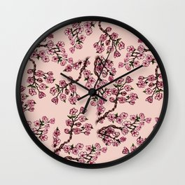 Sakura Branch Watercolor Wall Clock