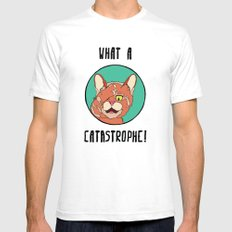 Catastrophe Cat SMALL White Mens Fitted Tee