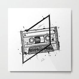 Audio Cassetta Handmade Drawing, Made in pencil and ink, Tattoo Sketch, Tattoo Flash, Blackwork Metal Print
