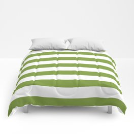 Green and White Stripes Comforters