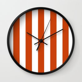 Sinopia red - solid color - white vertical lines pattern Wall Clock