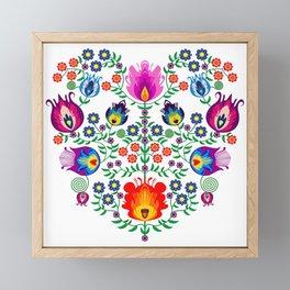Folk Pattern - Flower Framed Mini Art Print