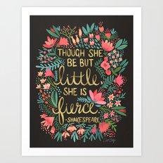 Little & Fierce on Charcoal Art Print
