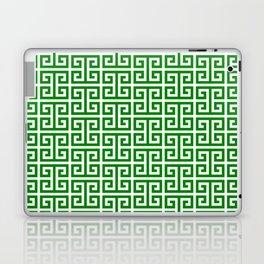 Green and White Greek Key Pattern Laptop & iPad Skin
