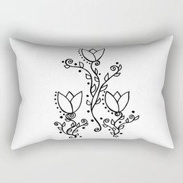 Three Tulips Doodle Art – Black and White Rectangular Pillow