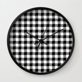 Gingham Check Black and White Wall Clock