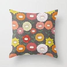 Talking Garden (gray) Throw Pillow
