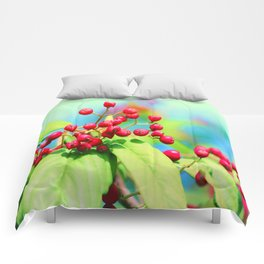 Red autumn berrys Comforters