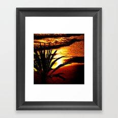 palm sea sunset Framed Art Print