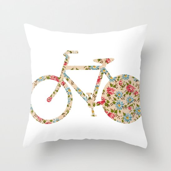 Whimsical cute girly floral retro bicycle Throw Pillow