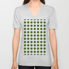 Simply Polka Dots in Jungle Green Unisex V-Neck