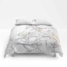 Champagne Rose Gold Blush Metallic Glitter Foil On Gray Marble Comforters