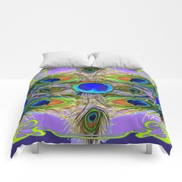 NOUVEAU BLUE-GREEN PEACOCK FEATHERS ON LILAC Comforters