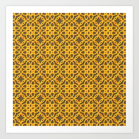 Lacey Pattern, Gold/Sand Art Print