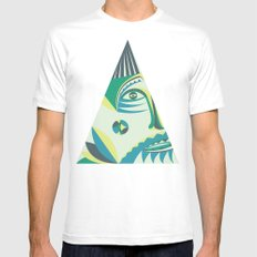visitor White MEDIUM Mens Fitted Tee