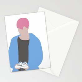 Jimin Spring days Pink Hair silhouette Stationery Cards