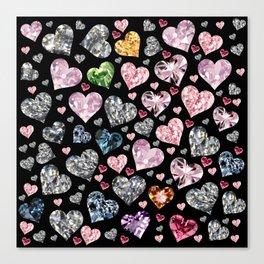 Heart Diamonds are Forever Love Black Canvas Print