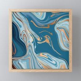 Liquid Blue Marble and Gold 014 Framed Mini Art Print