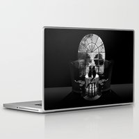 skull Laptop & iPad Skins featuring Room Skull B&W by Ali GULEC