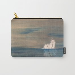 Floating Feather. Original Painting by Jodilynpaintings. Abstract Feather on Water. Carry-All Pouch