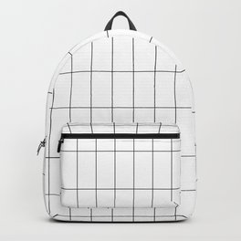 Long Grid White Backpack
